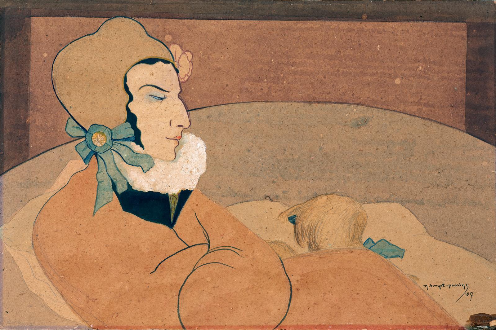 Meanglalierce l'indifférente, 1917, gouache et aquarelle sur trait de mine de plomb avec rehauts de blanc, sur carton, 40,5x60cm. © Gal