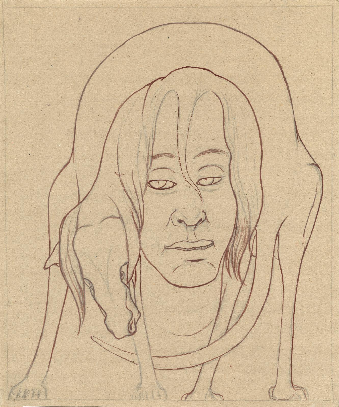 Idaouler Moncle encerclé (Ma ville, série des Figures avec des animaux), 1935, gouache rouge sur trait de mine de plomb, 36x30cm. © Gal