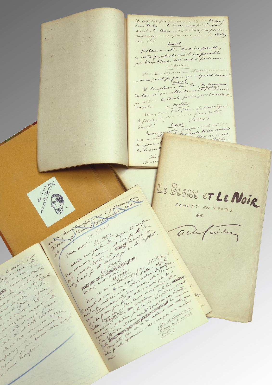Sacha Guitry (1885-1957), Le Blanc et Le Noir, comédie en quatre actes, manuscrit de travail autographe signé, 143 pages in-folio, chemise