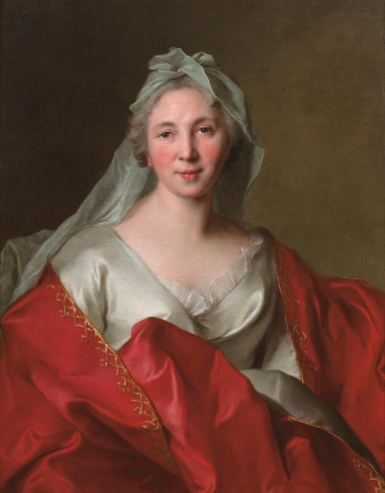 Jean-Marc Nattier (1685-1766), Portrait de Marie-Geneviève Gaudart de Laverdine, 1734, toile signée «Nattier Pinxit/ 1734», 81x65cm.