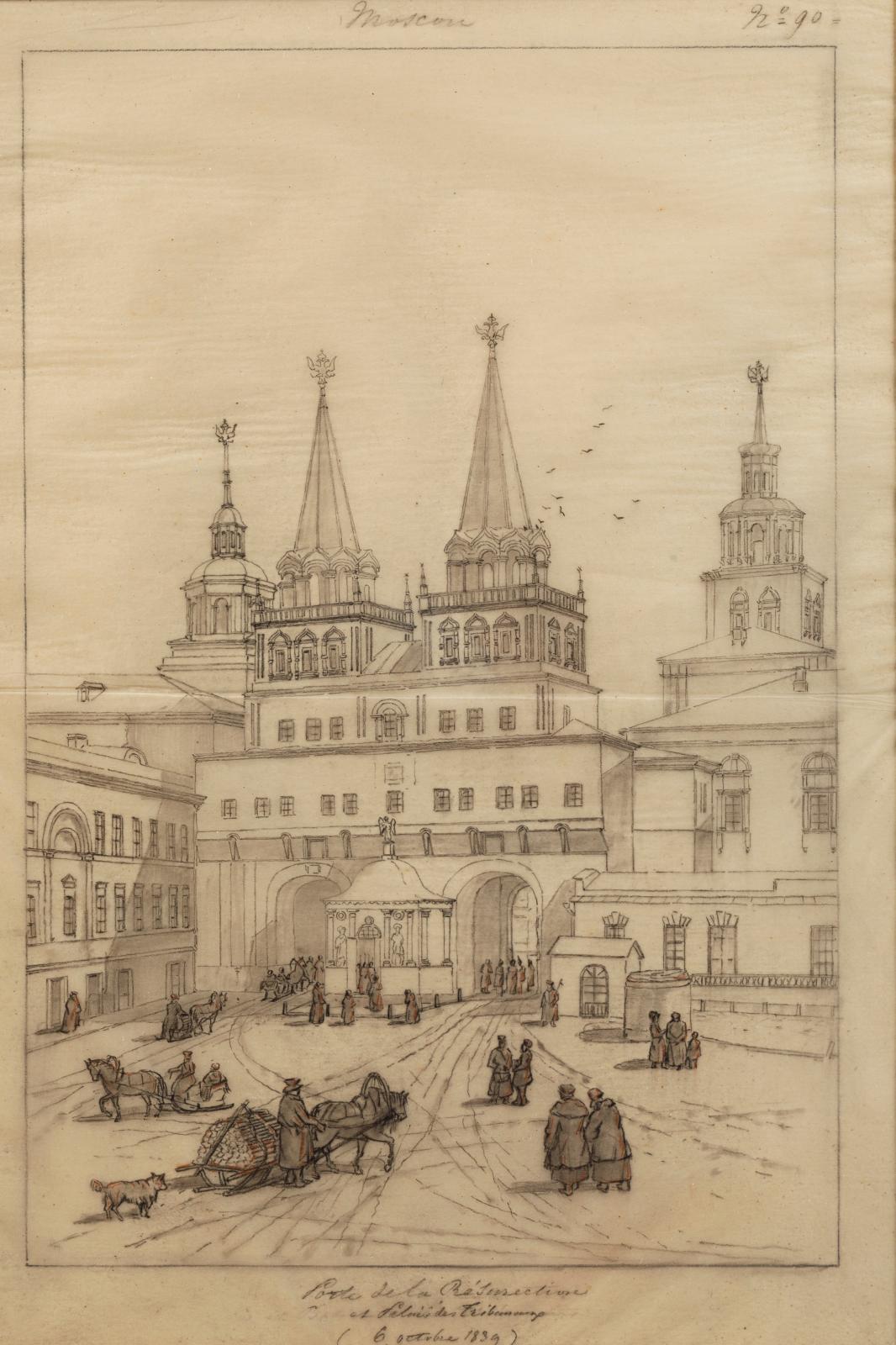 André Durand (1807-1867), Voyage en Russie du prince Anatole Demidoff, vers 1839-1848, 93dessins sur calque marouflé sur papier, 28x45,
