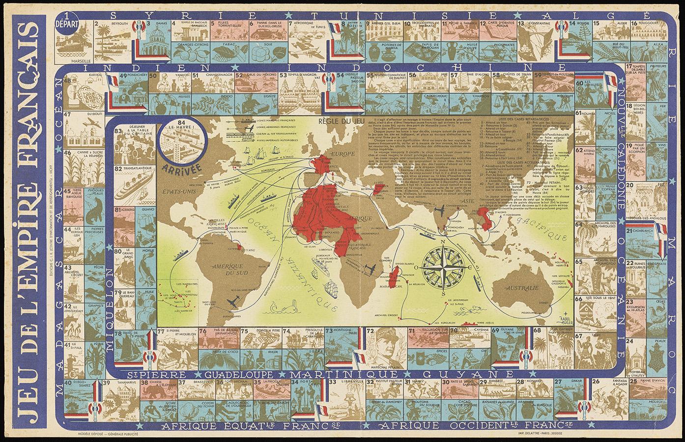 Raoul Auger (1904–1991), Jeu de l'Empire Français (The French Empire Game), two-sided game board, 1941. Imprimerie Delattre.Image courtesy