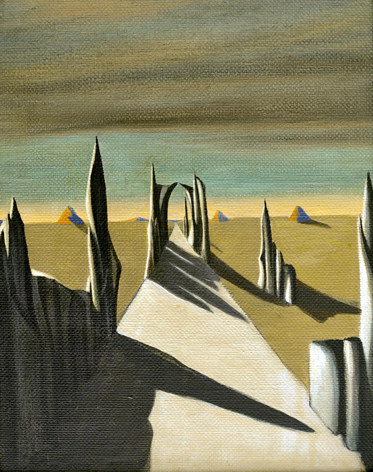 Kay Sage (1898-1963), White Silence, 1941, oil on canvas, 32.5 x 25.5 cm/12.8 x 10 in (detail).Courtesy of Caldwell Gallery Hudson in Huds