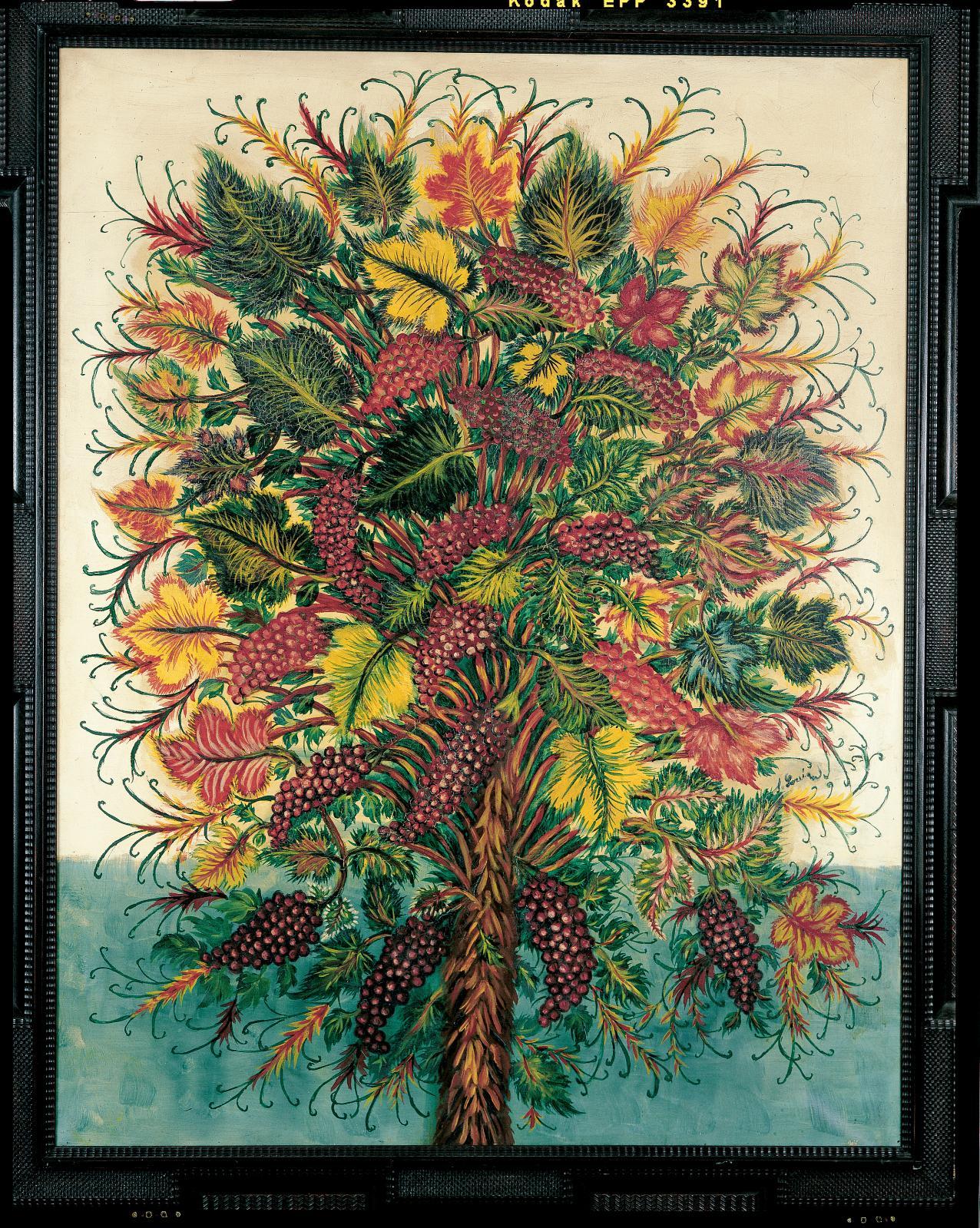 Séraphine Louis, dite Séraphine de Senlis (1864-1942), Les Grappes de raisins, vers 1930, huile sur toile,146x114cm (détail). Collecti