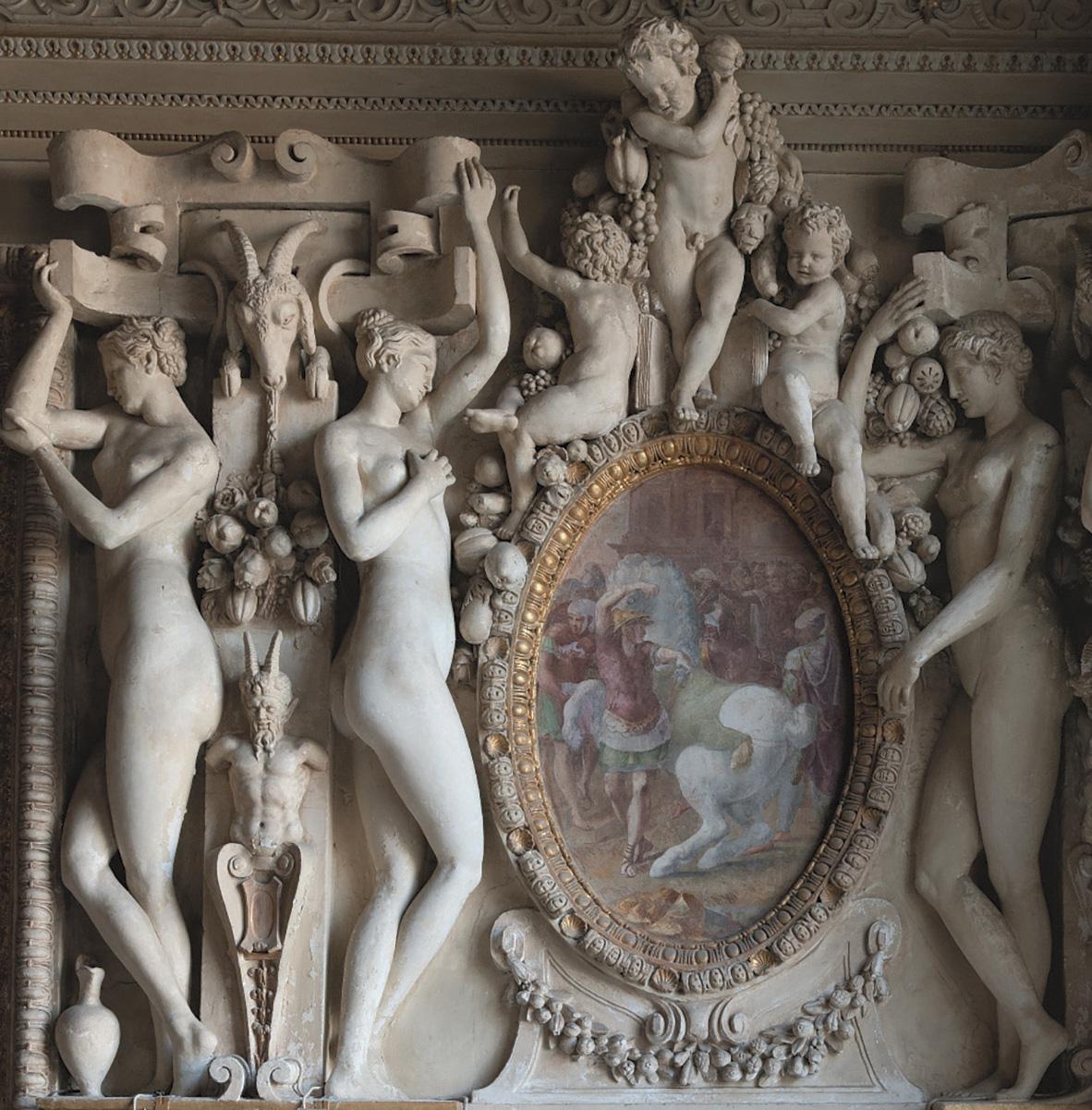 Le décor de la chambre de la duchesse d'Étampes, château de Fontainebleau (détail). © B. Lecuyer-Bibal