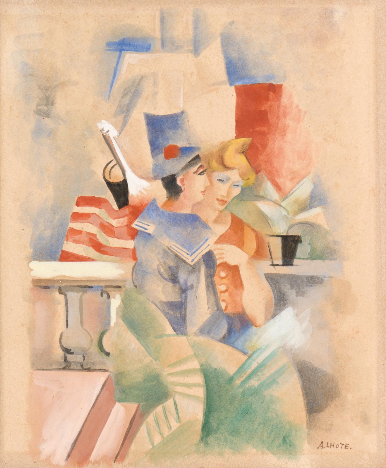 André Lhote (1885-1962), Illustration pour Chanson de bord, aquarelle gouachée, 24,5x20,3cm. Estimation: 3000/4000€