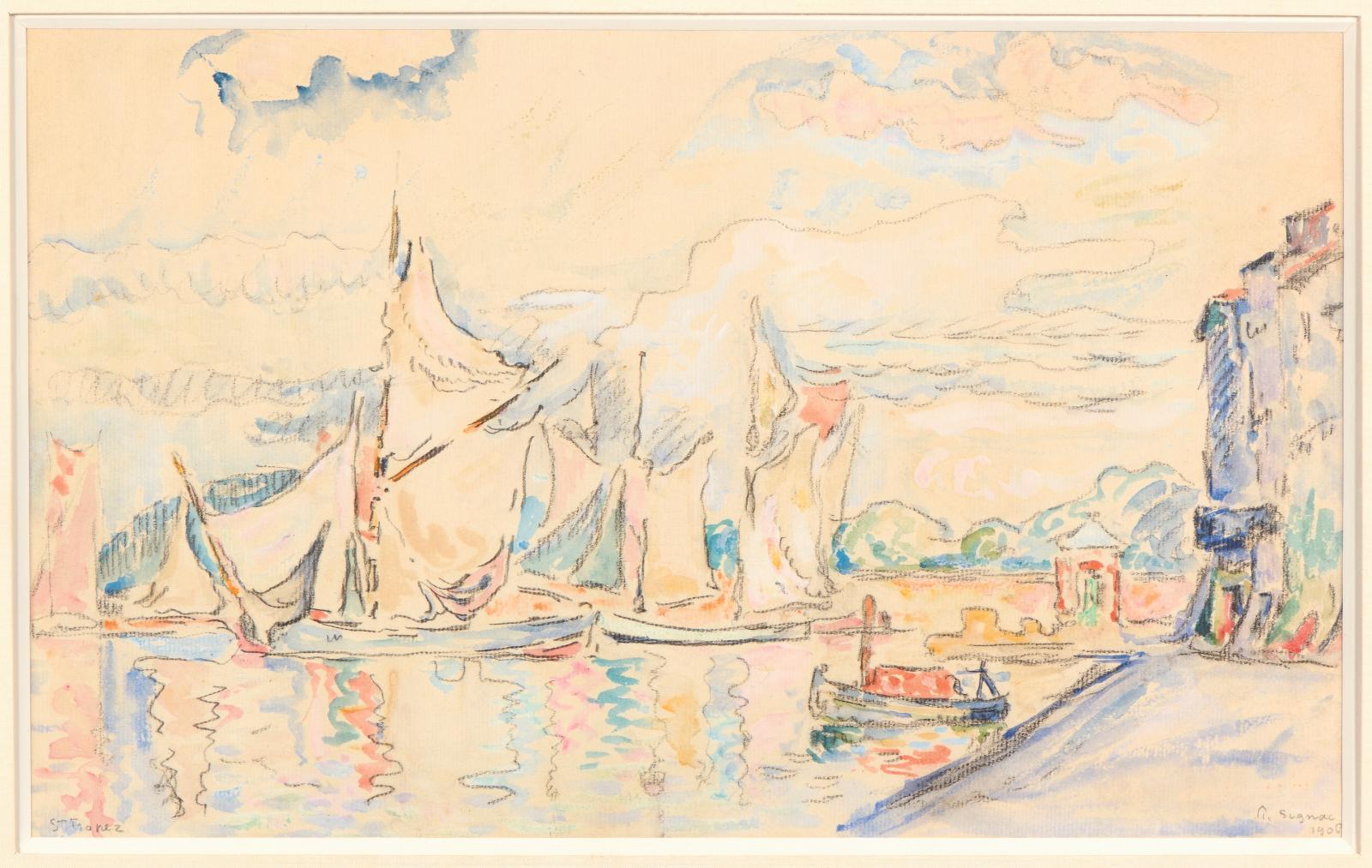 Paul Signac (1863-1935), Voiliers à Saint-Tropez, 1906, aquarelle sur traits de fusain, signée au crayon de papier, datée et située, 24,5