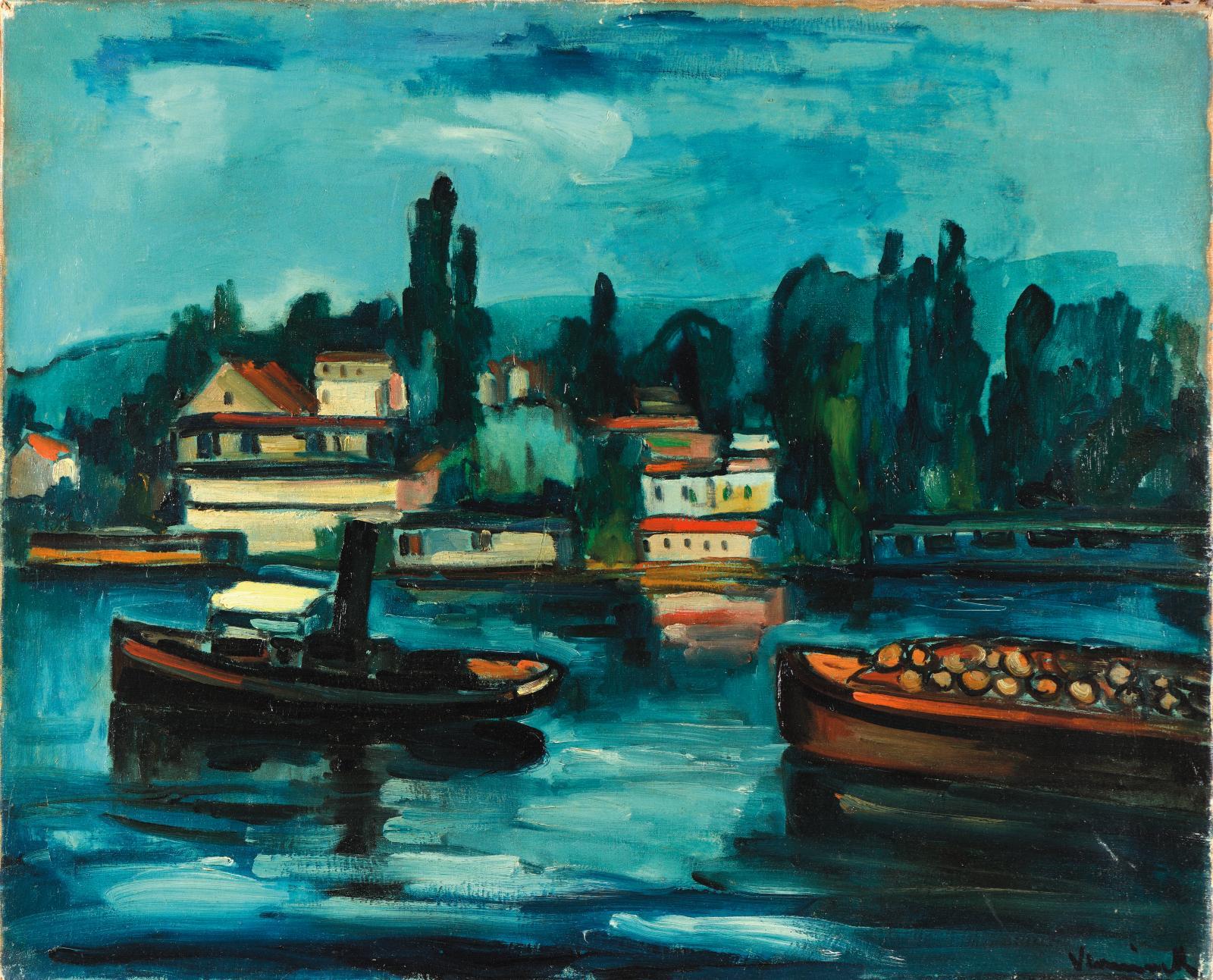 Maurice de Vlaminck (1876-1958), Péniches sur la Seine, 1908, huile sur toile signée, 60x73cm. Estimation: 80000/100000€