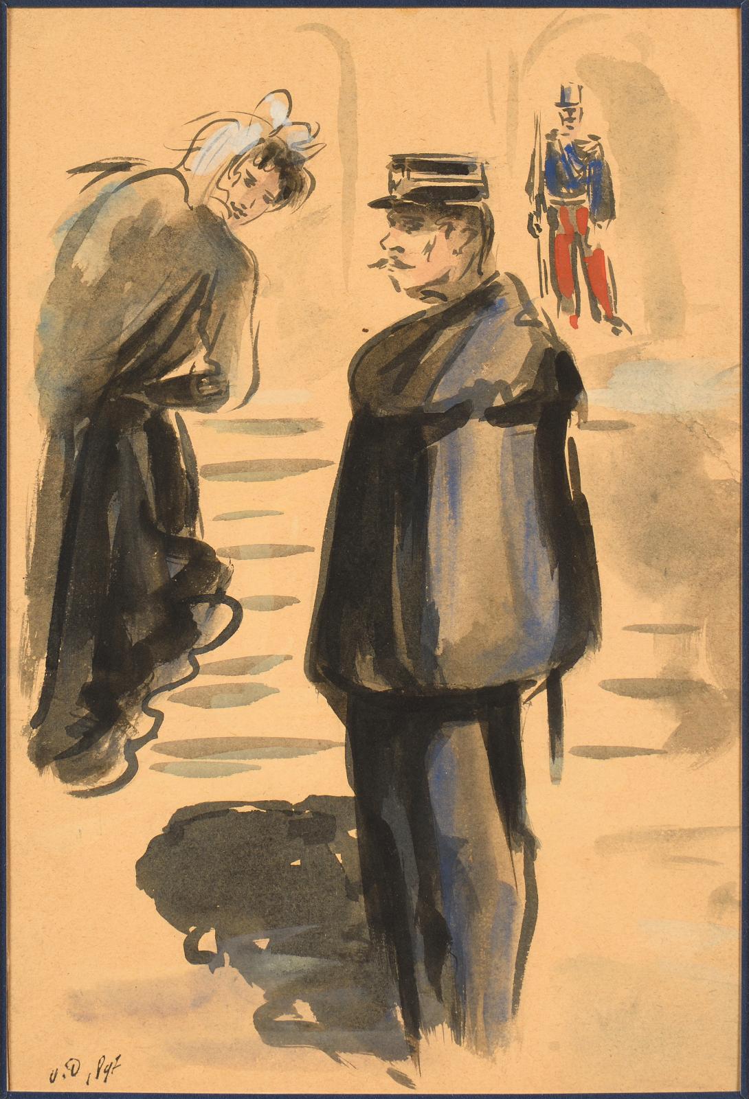 Kees Van Dongen (1877-1968), Scène de rue, 1897, aquarelle et lavis, signée des initiales «V.D.», 29,2x19,7cm. Estimation: 3000/50