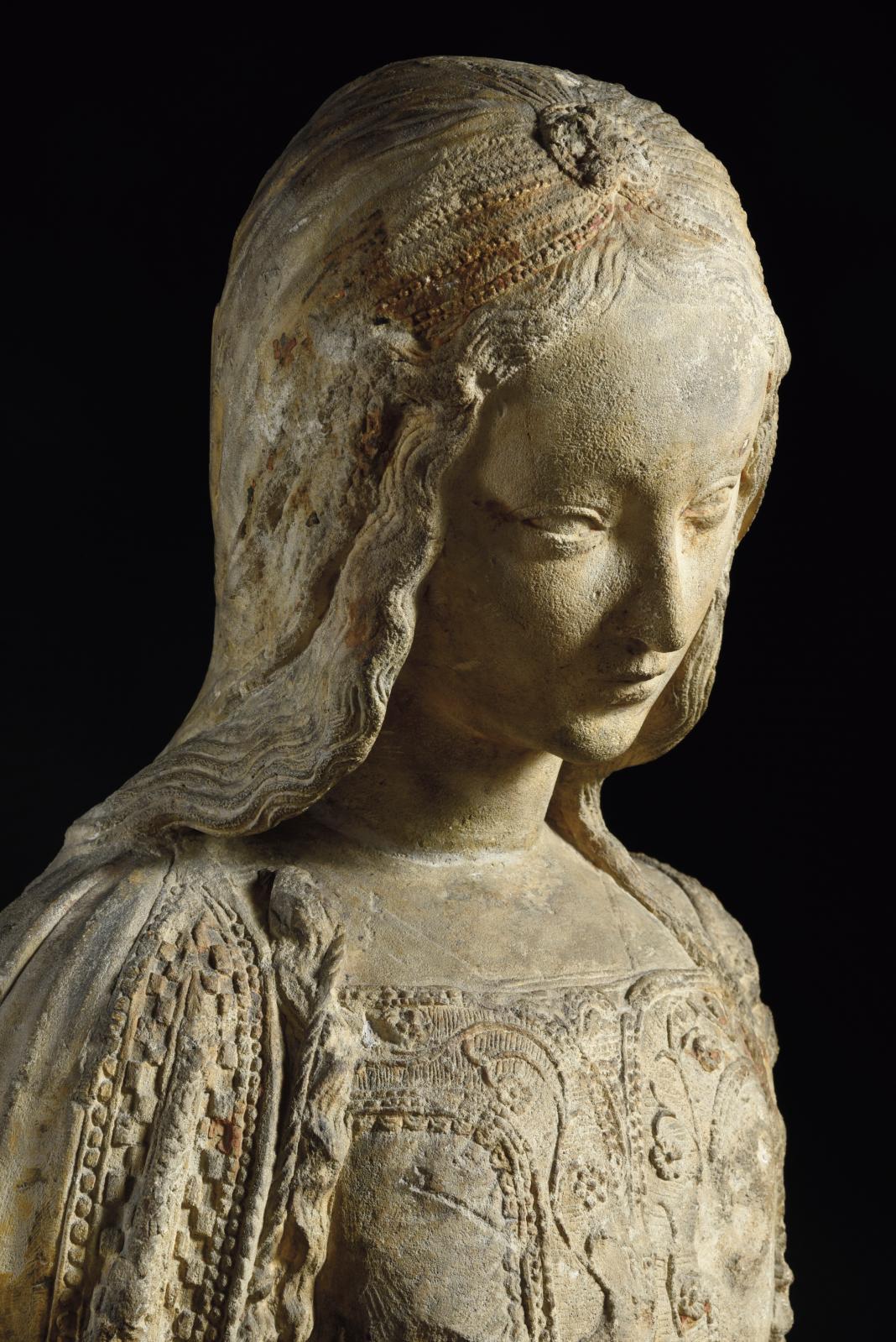 Atelier de Michel Colombe (1430-1512),fin du XVesiècle, buste de sainte femme ou de Vierge, pierre calcaire, traces de polychromie et de