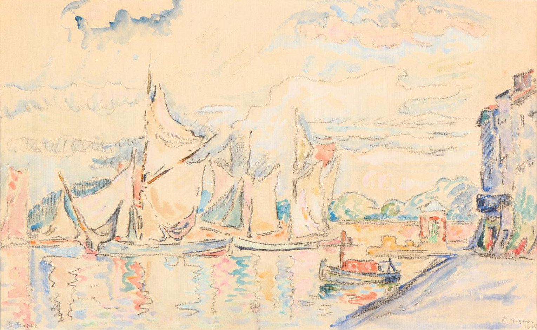 Paul Signac (1863-1935), Voiliers à Saint-Tropez (Sailing Boats in Saint-Tropez), 1906, watercolor on charcoal lines, signed in pencil, da