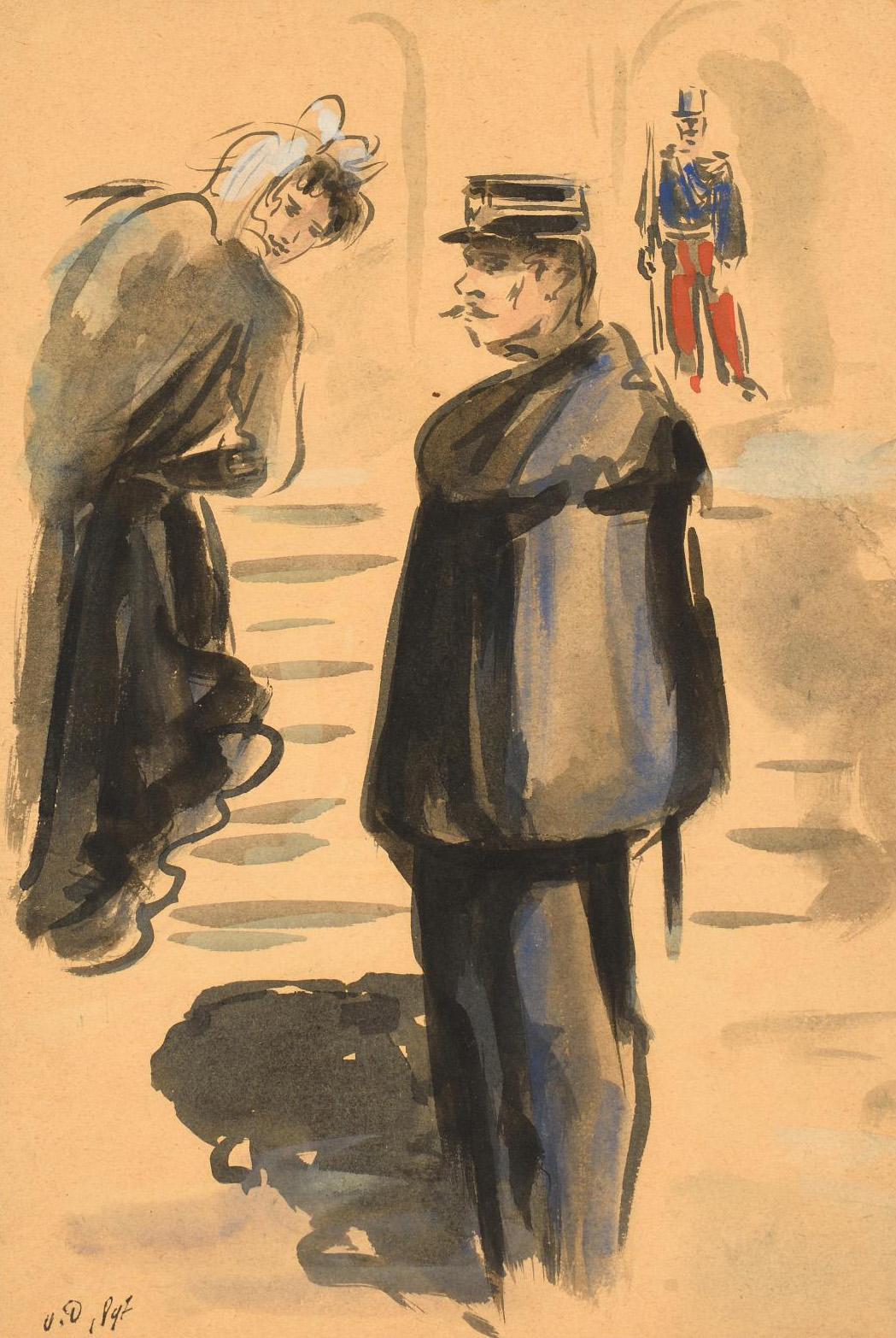"Kees Van Dongen (1877-1968), Scène de rue (Street scene), 1897, watercolor and wash, signed with the initials ""V.D."", 29.2 x 19.7 cm/11.4"