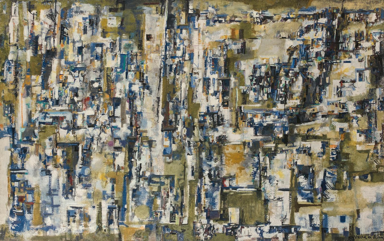 Titrée Bleu et jaune ou encore Les Villages (72,6x116cm), cette huile sur toile de Maria Helena Vieira daSilva(1908-1992) était adugé