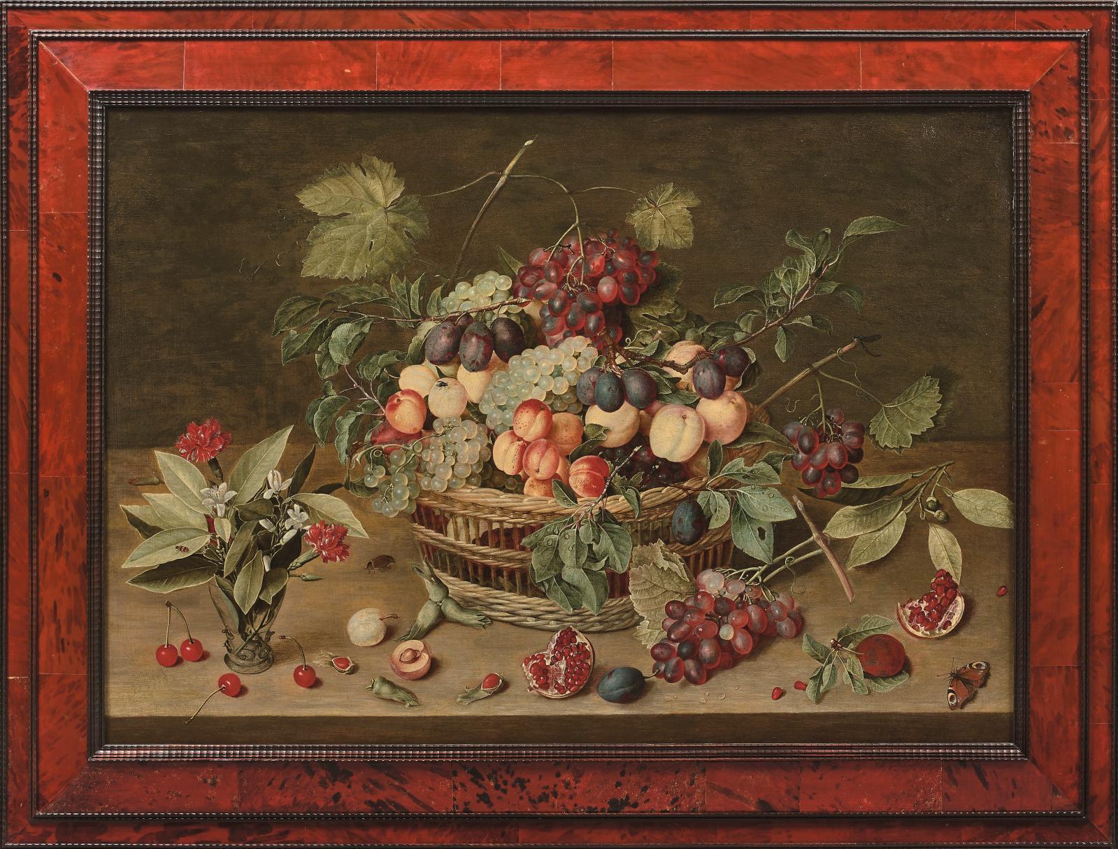 Retour à du grand classique du XVIIesiècle avec ce panneau d'Isaac Soreau(1604-vers1644) figurant une Corbeille de prunes, raisins et a