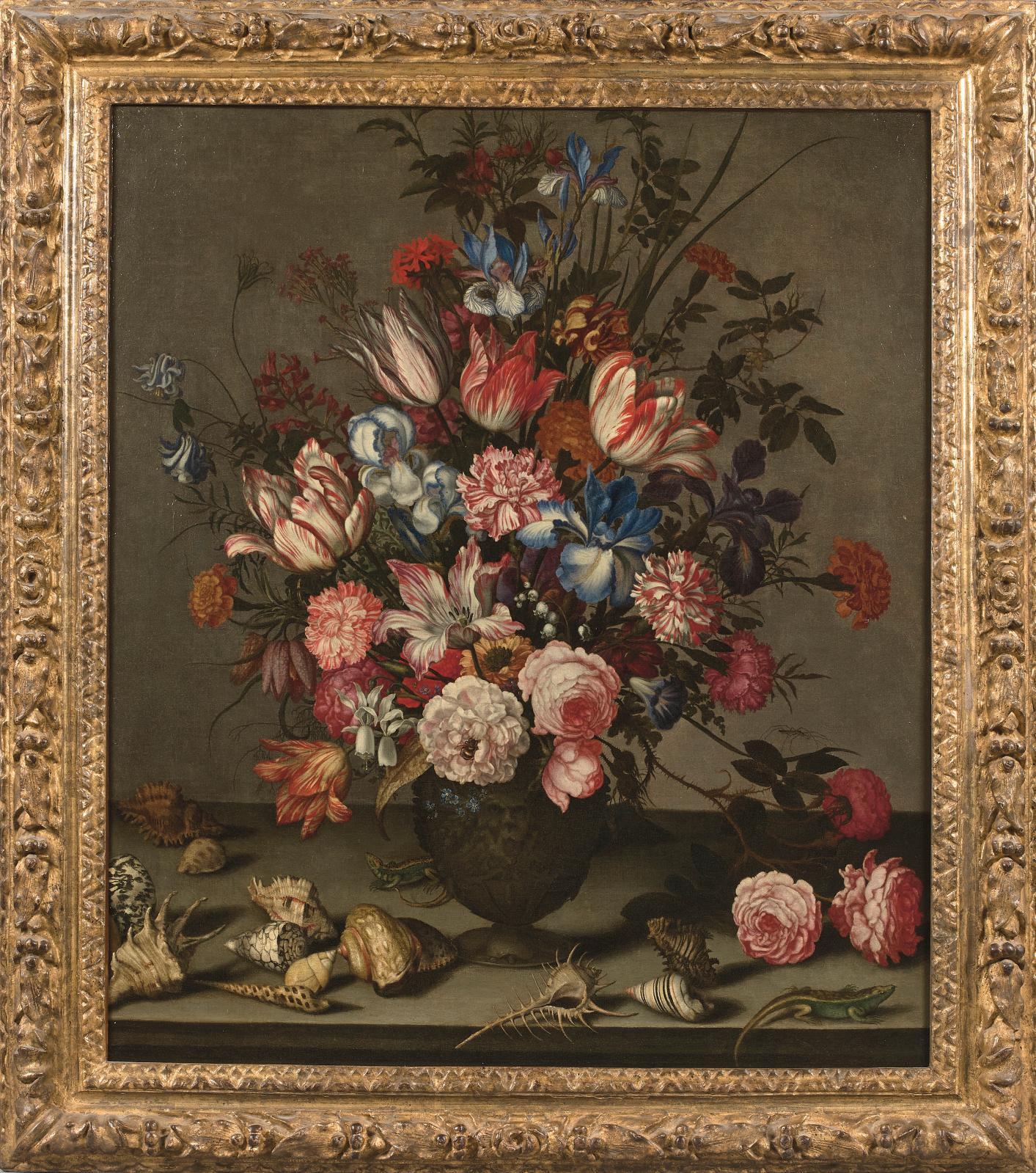 Tout le talent de Balthasar Van der Ast(vers1593-1657) explose dans cette composition d'Iris, tulipes, œillets, roses et autres fleurs d