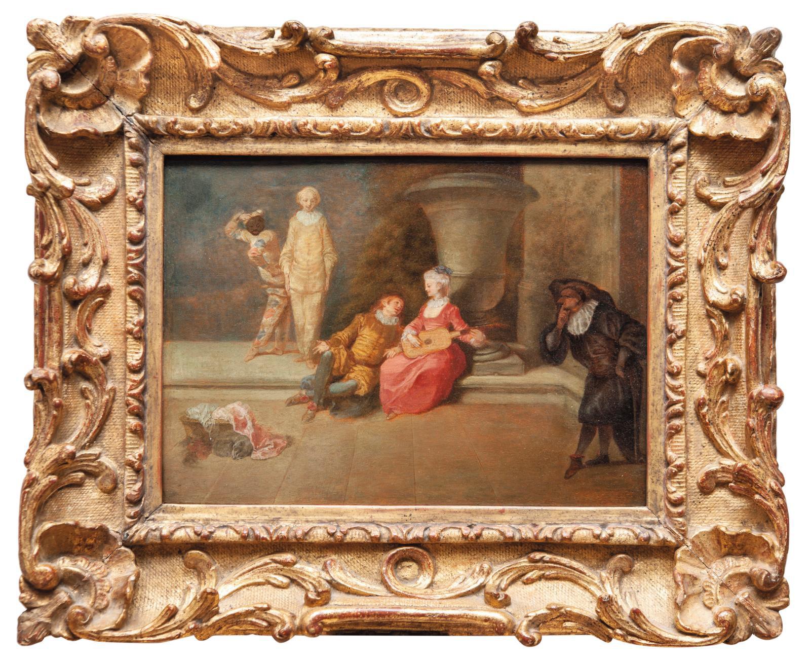Jean-Antoine Watteau (1684-1721), Pour garder l'honneur d'une belle, prepared oak panel, 20 x 27.5 cm/7.9 x 10.8 in.Result: €180,320