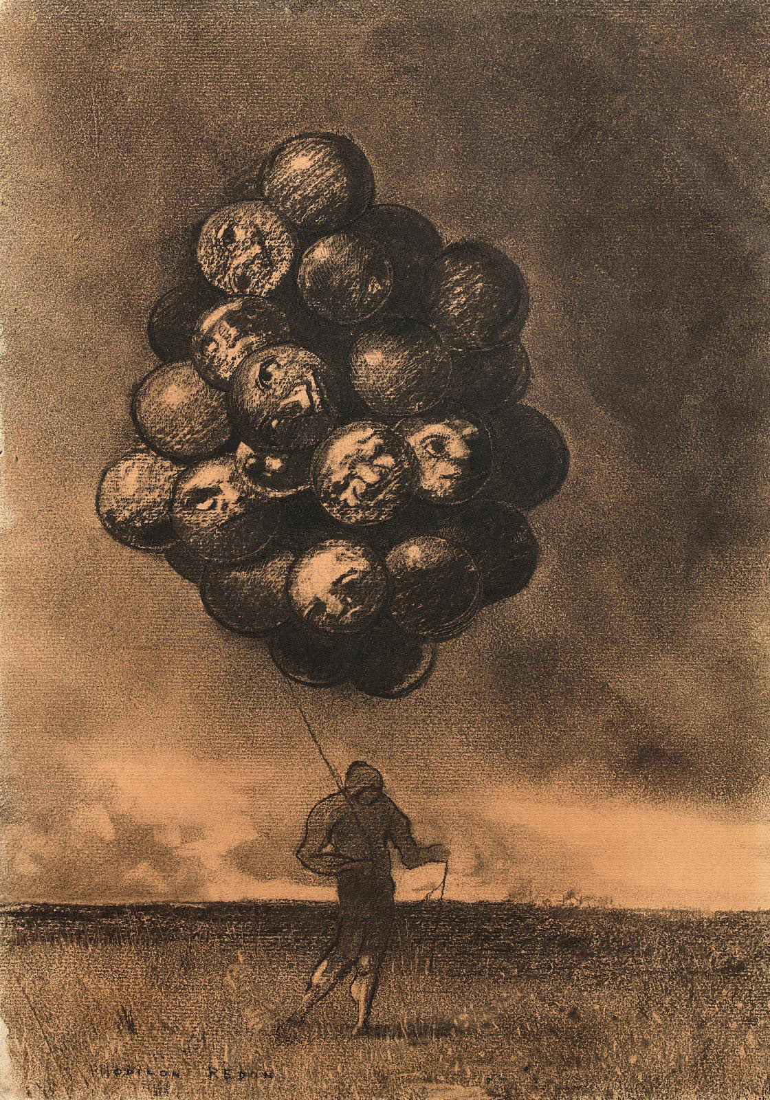 Odilon Redon (1840-1916), La Grappe ou Le Marchand de ballons, charcoal and stump drawing, 38.5 x 27.5 cm/15.2 x 10.8 in.Result: €317,500