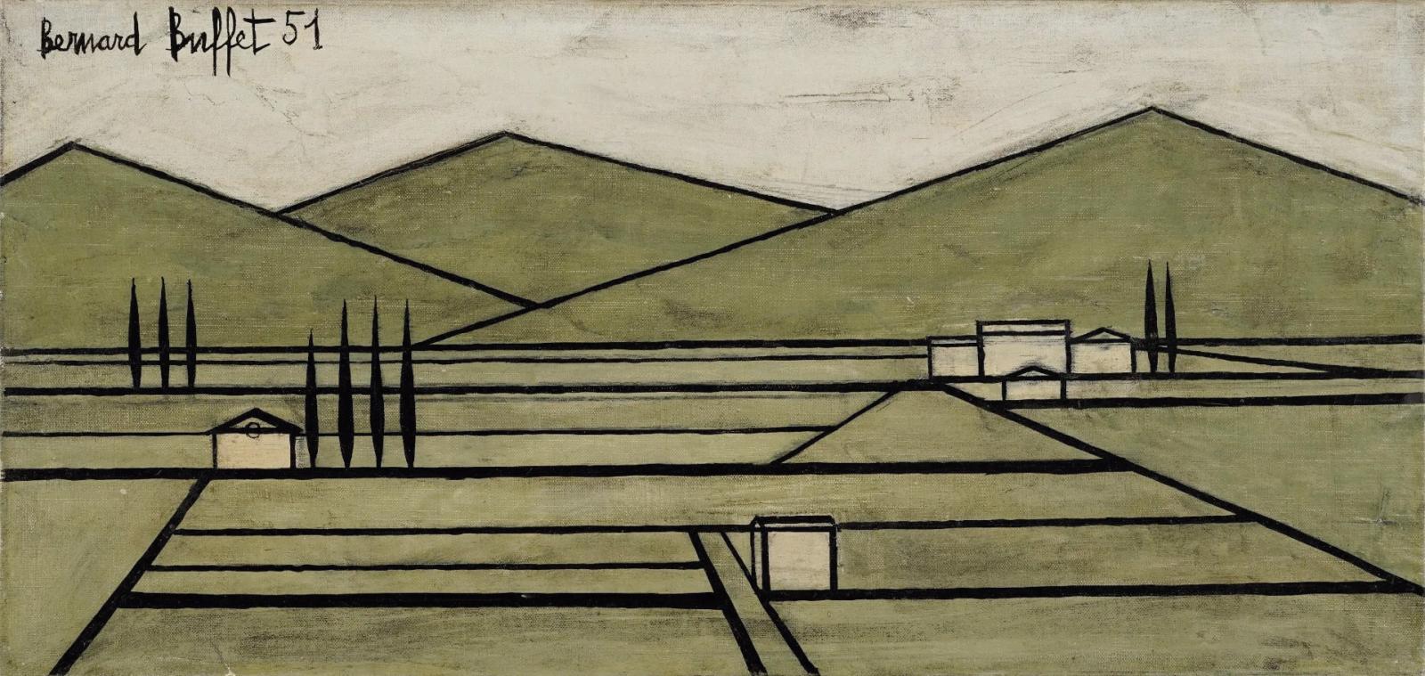 Bernard Buffet ( 1928-1999), Paysage du Vaucluse II, 1951, huile sur toile, 24 x 50 cm. Estimation: 18000/26000€