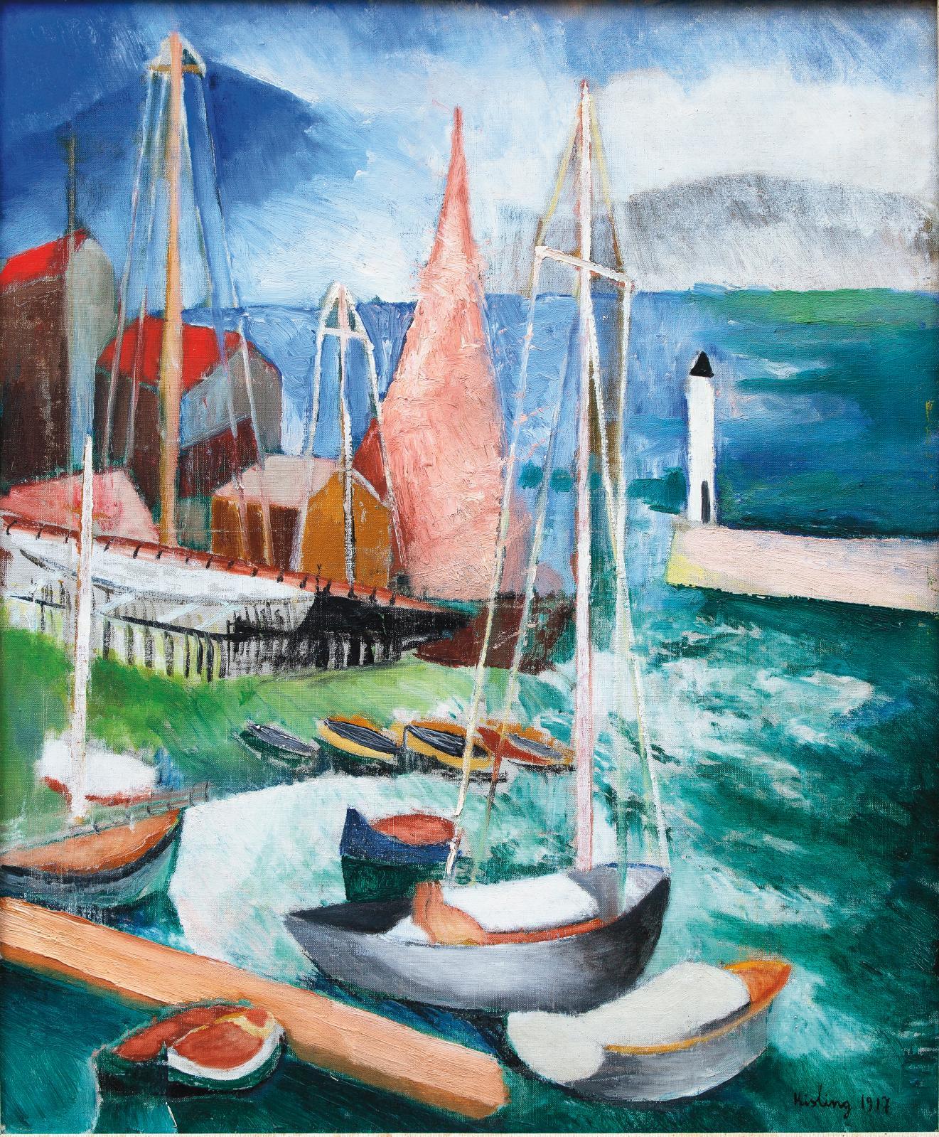 Moïse Kisling (1891-1953), Bateaux à voile, Saint-Tropez, mars 1917, huile sur toile, 65,5 x 54 cm (détail). Estimation: 30000/50000€