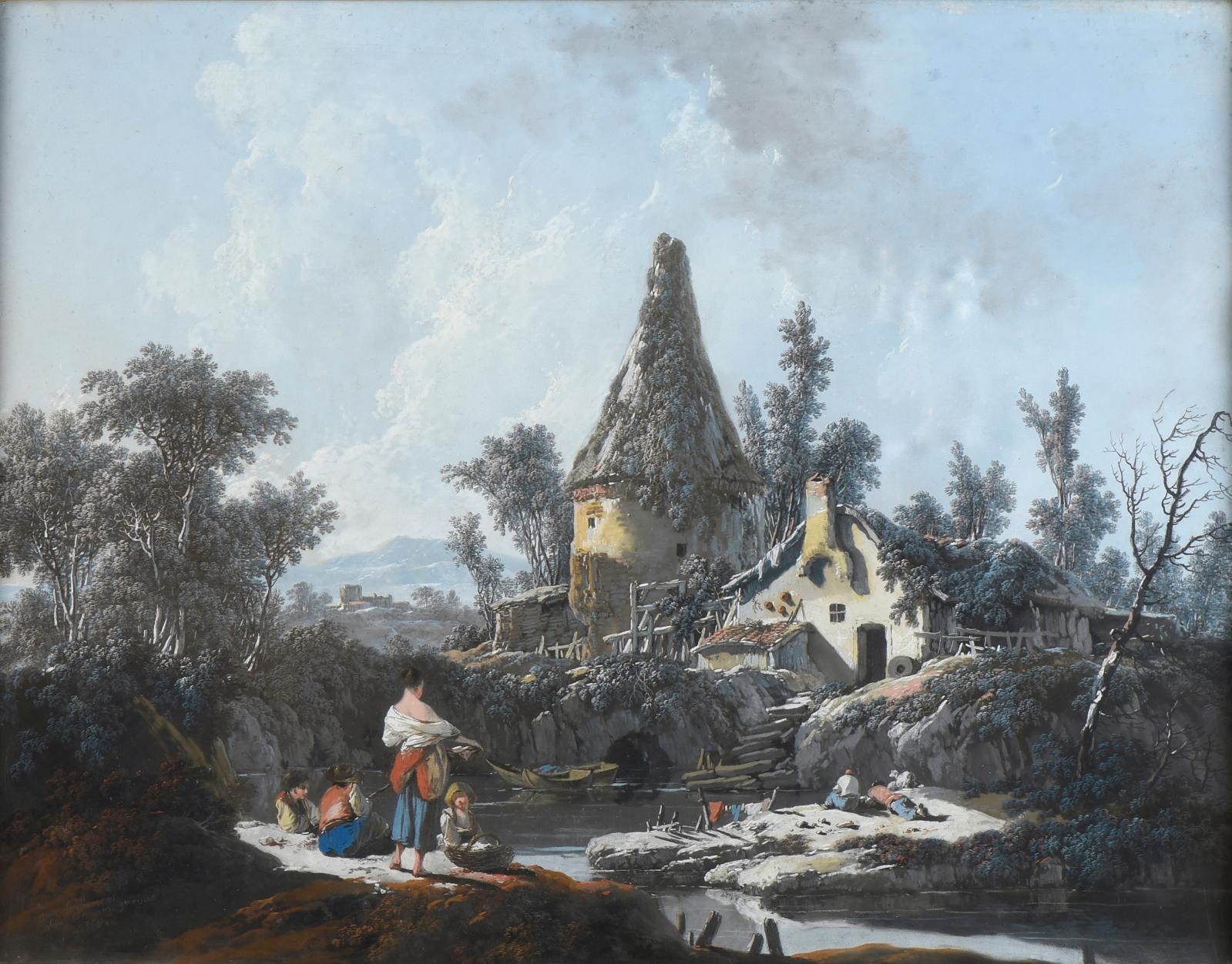 Jean Pillement (1728-1808), Paysage au colombier, pastel, signé et dédicacé en bas à gauche « Jean Pillement/ Pour son ami Gavinet» et da