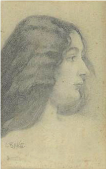 €1,999Léon Bakst (1866–1924), portrait of a young woman seen in profile, lead pencil drawing, signed and located in Biarritz, 24 x 15 cm/9
