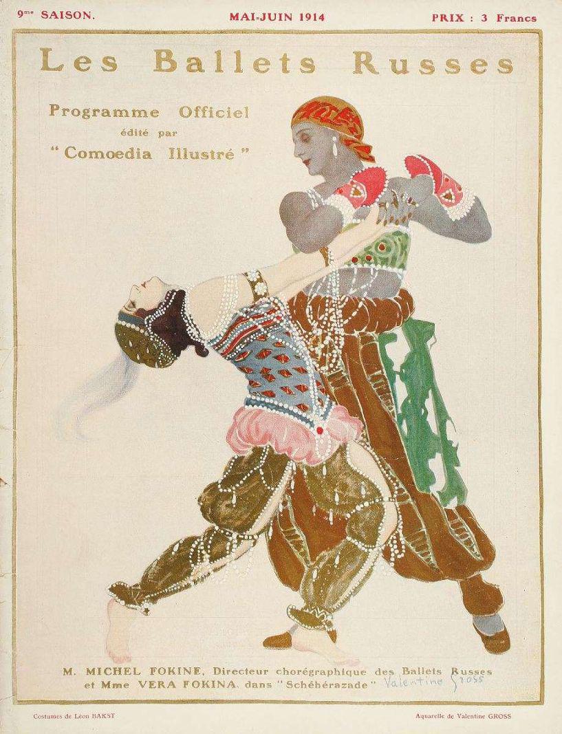 €186Les Ballets russes, 9th season program, May-June 1914, published by Comœdia illustré, cover by Valentine Gross, color plates by Bakst