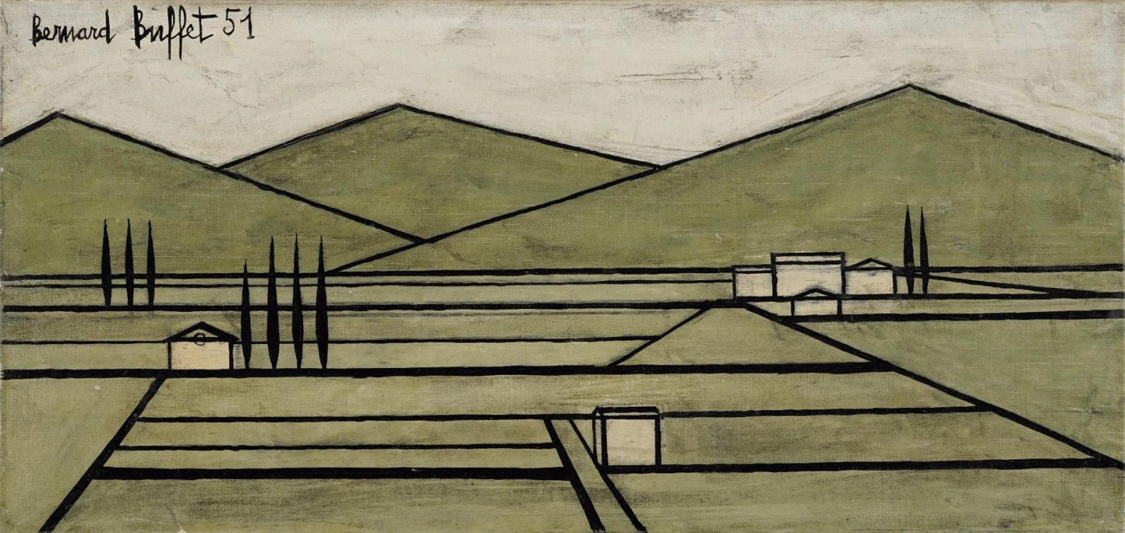 Bernard Buffet (1928-1999), Paysage du Vaucluse II (Vaucluse landscape II), 1951, oil on canvas, 24 x 50 cm/9.5 x 19.7 in.Estimate: €18,00