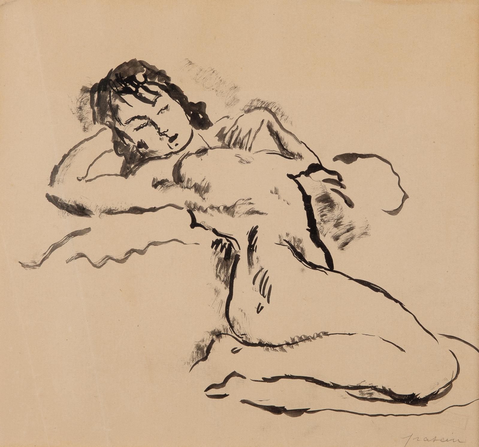 Jules Pascin (1885-1930), Jeune fille (Nu allongé, les jambes repliées), Paris 1925, encre et lavis, 22 x 23,5 cm. Estimation: 300/400 €
