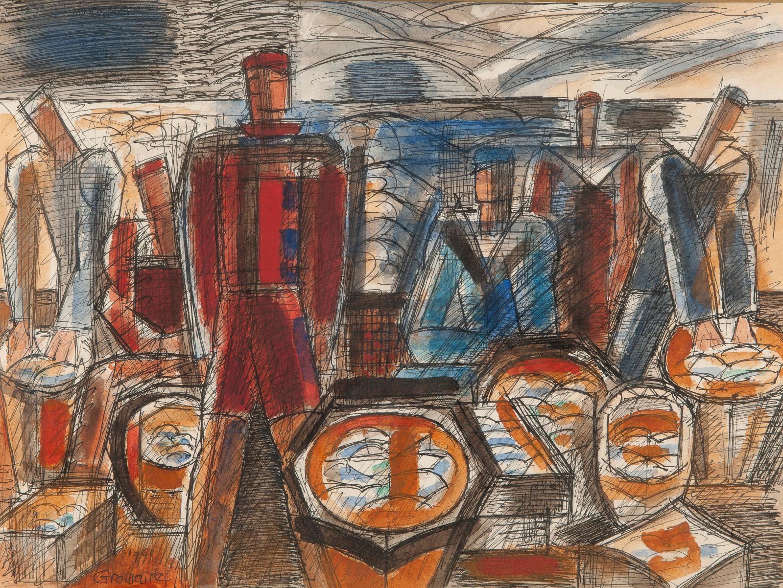 Marcel Gromaire (1892-1971), Les Pêcheurs, 1961, encre de Chine, aquarelle et gouache, 31,5x42,5cm (détail). Estimation: 2 000/3 000 €