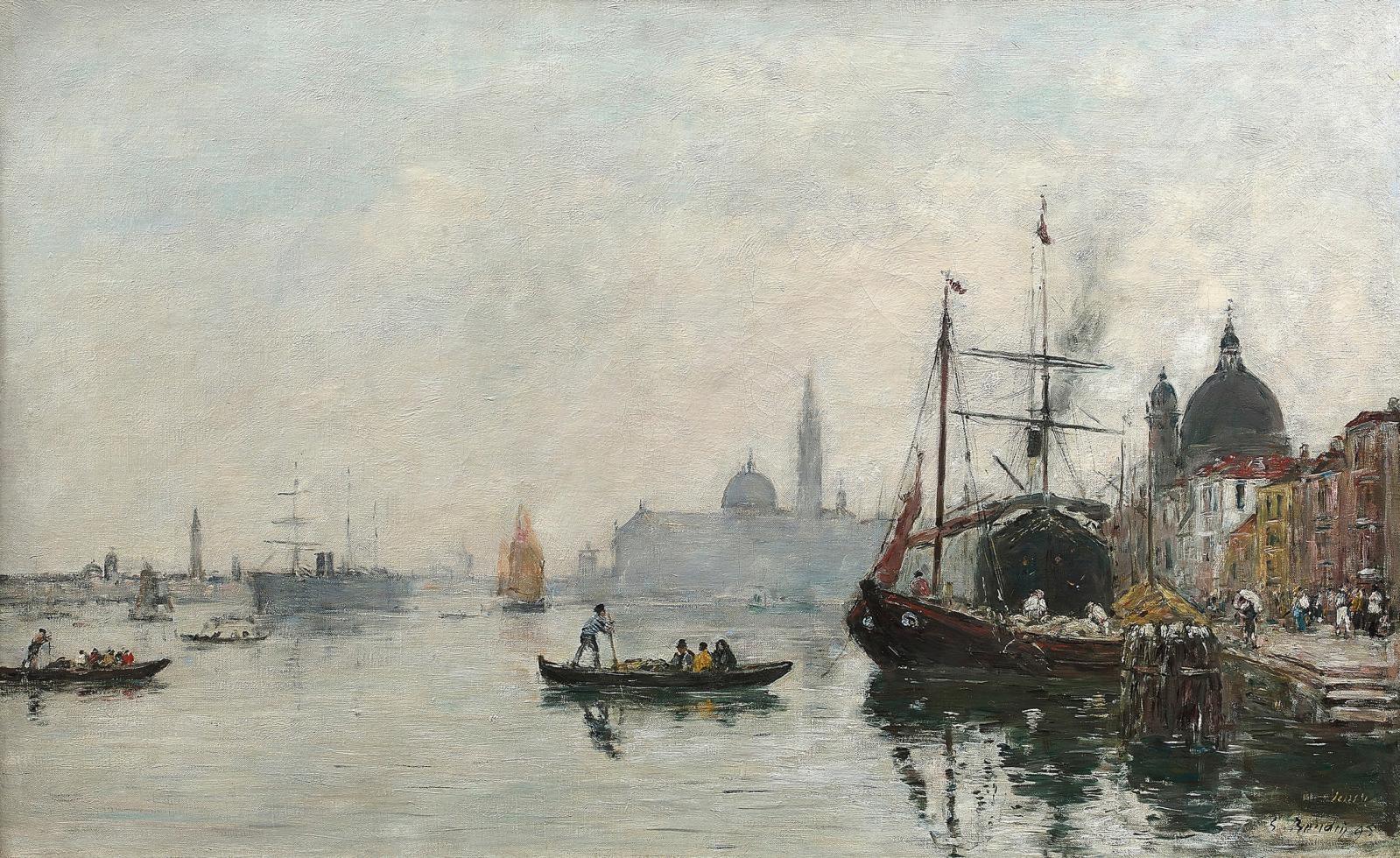 Eugène Boudin (1824-1898), Venise, le quai de la Giudecca, effet du matin, 1895, huile sur toile, 55x90cm. Vendredi 11 juin, salle 1-7