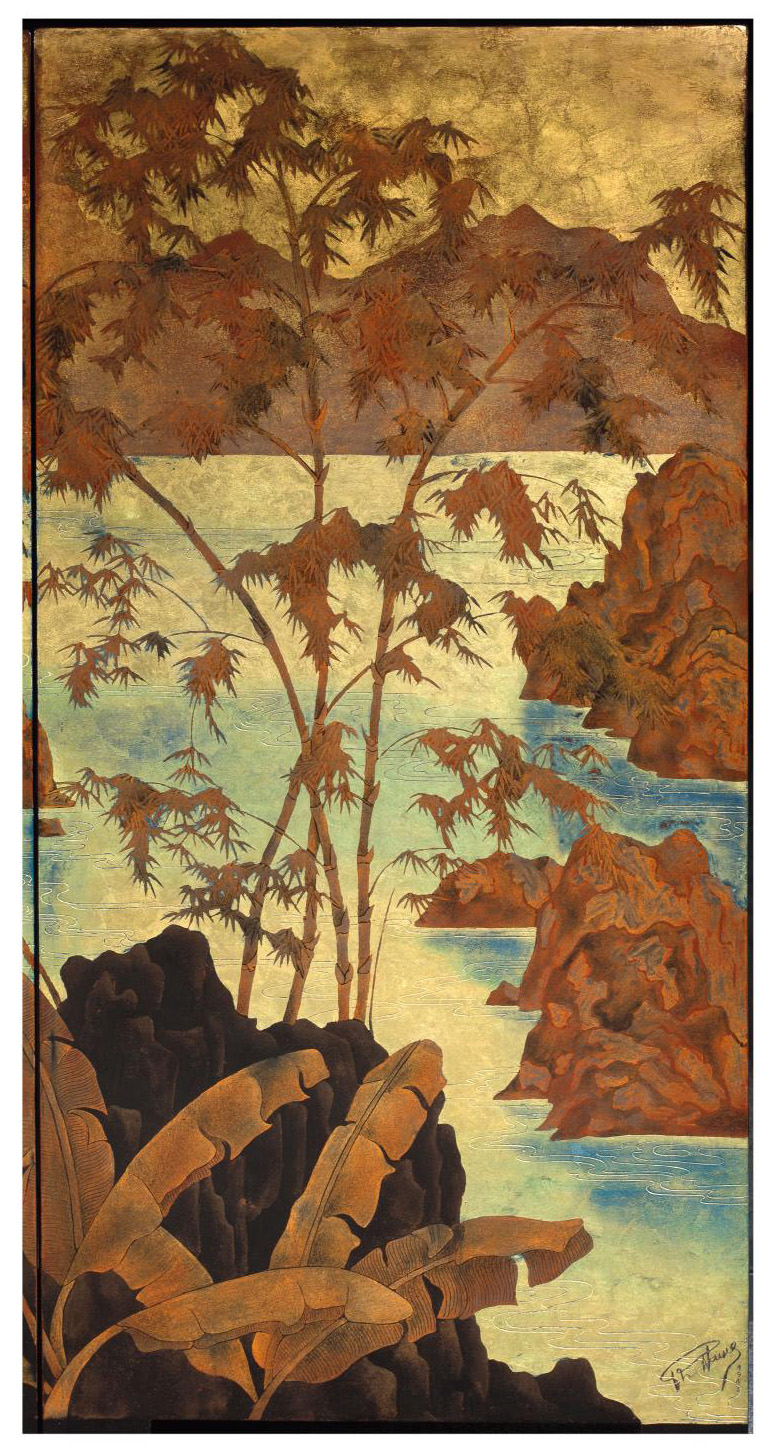 Pham Hau (1903–1995), four-panel folding screen, Paysage aux jonques (Landscape with Junks), lacquer with gold and silver highlights, sign
