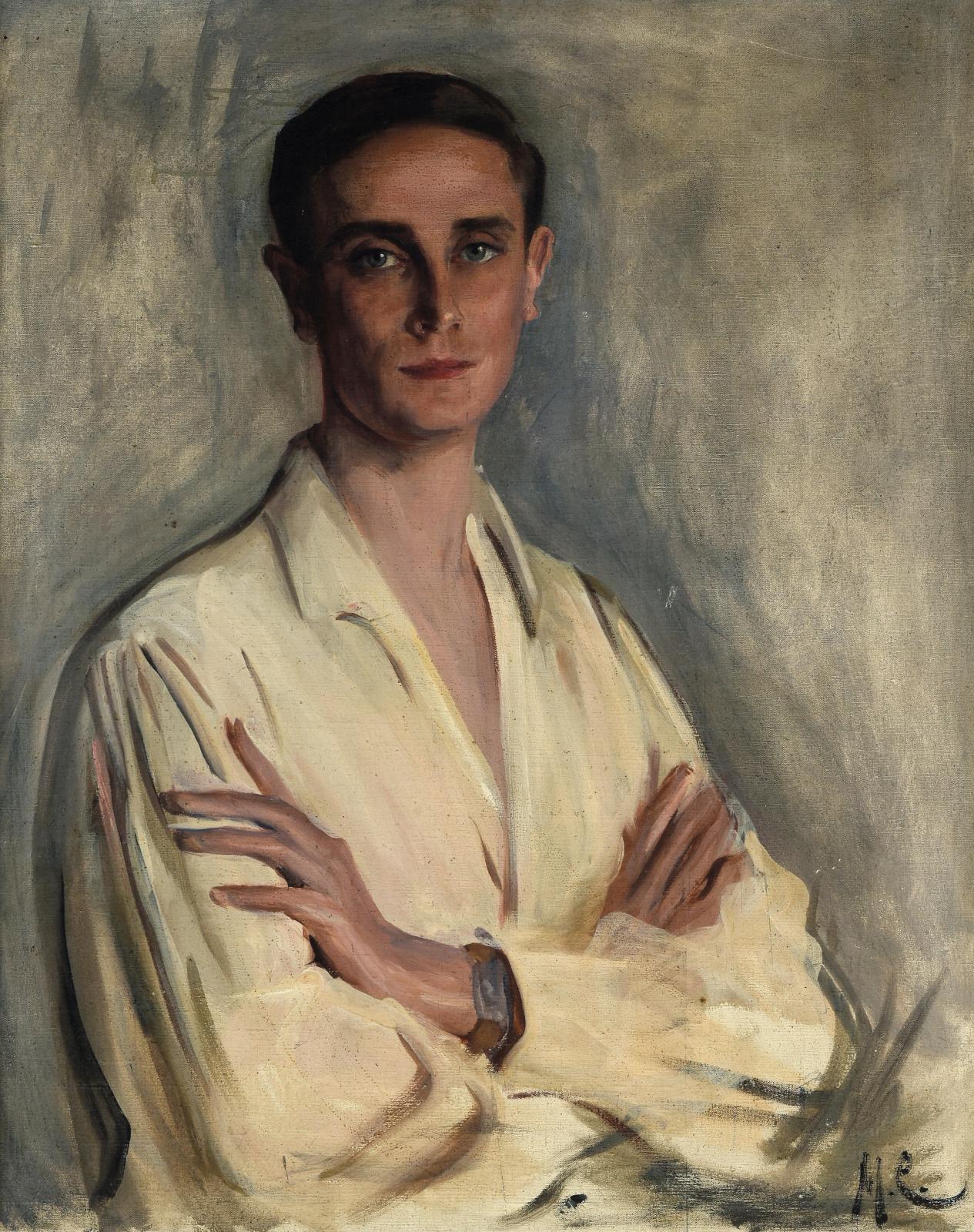 École russe du début du XXesiècle. Portrait du prince Félix Félixovitch Youssoupoff (1887-1967), huile sur toile signée des initiales « M