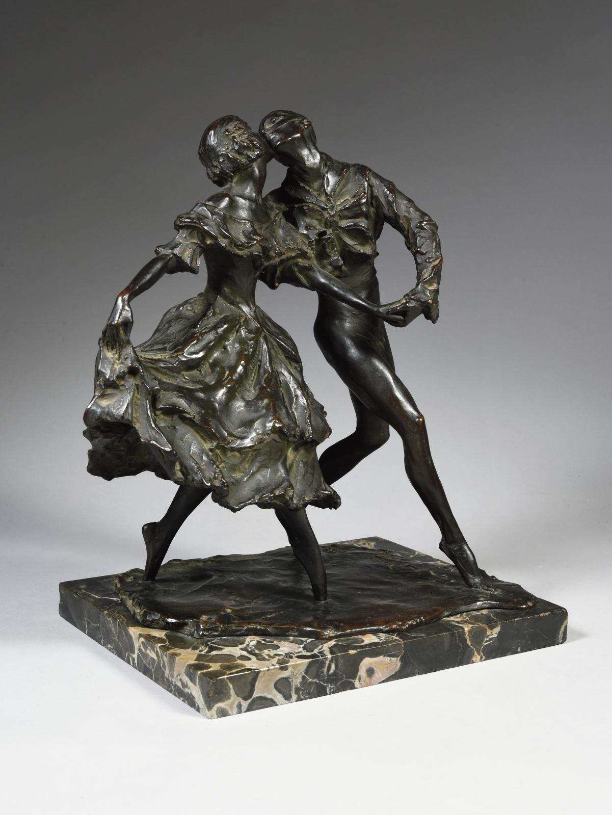 Gleb W. Derujinsky (1888-1975), Vaslav Nijinski et Tamara Karsavina jouant les rôles d'Arlequin et de Colombine dans le ballet «Carnaval»