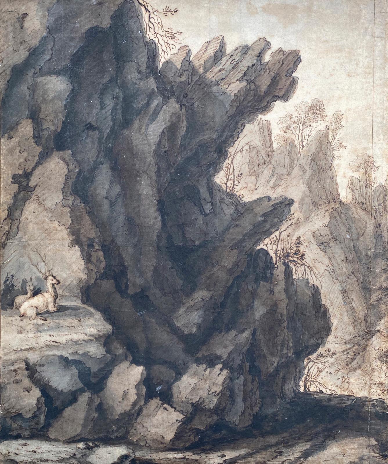 Lambert Doomer (1624-1700), Paysage de montagne, plume et encre brune, lavis brun et gris, 44x37cm. Galerie Benjamin Peronnet. © Benjam