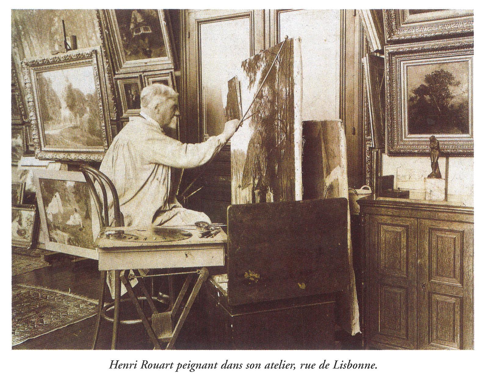 Henri Rouart peignant dans son atelier,rue de Lisbonne. collection particulièr