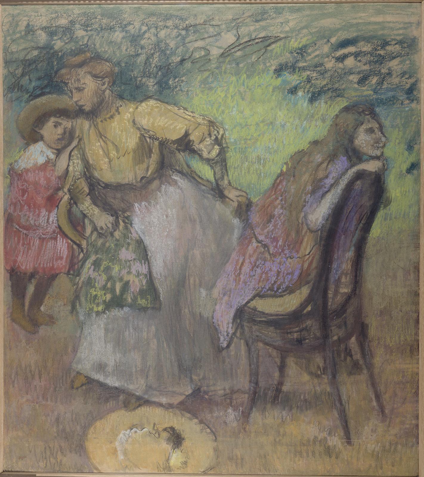 Edgar Degas, Madame Alexis Rouartet ses enfants, vers 1905 (détail).La jeune femme est une brud'Henri Rouart. © Paris Musées/ Petit Pal