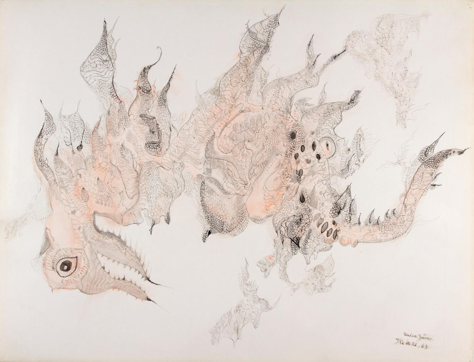 Unica Zürn, Ile de Ré, 1963, ink and gouache on paper, 50.2 x 65.4 cm/19.76 x 25.75 in.Courtesy Ubu Gallery, New York