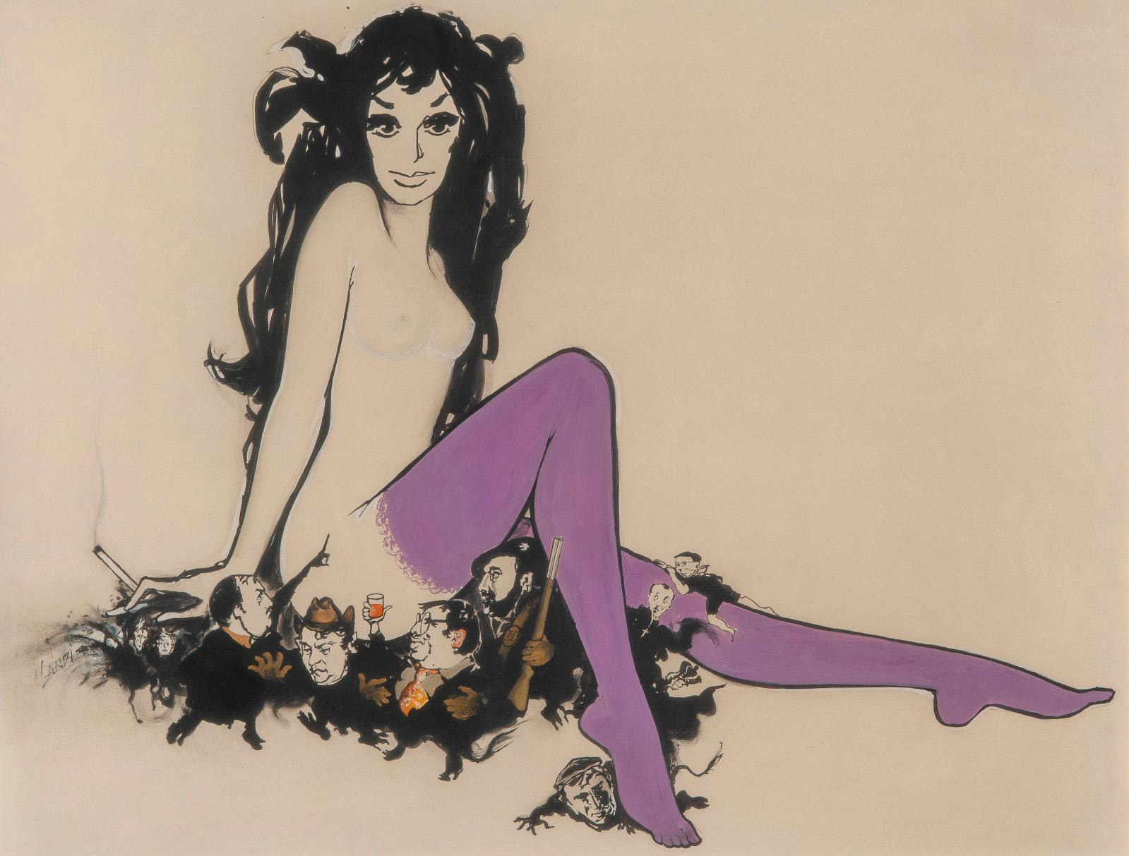 Michel Landi, sketch for the poster of A Very Curious Girl, gouache, 48 x 62 cm/18.9 x 24.4 in.Estimate: €100/150