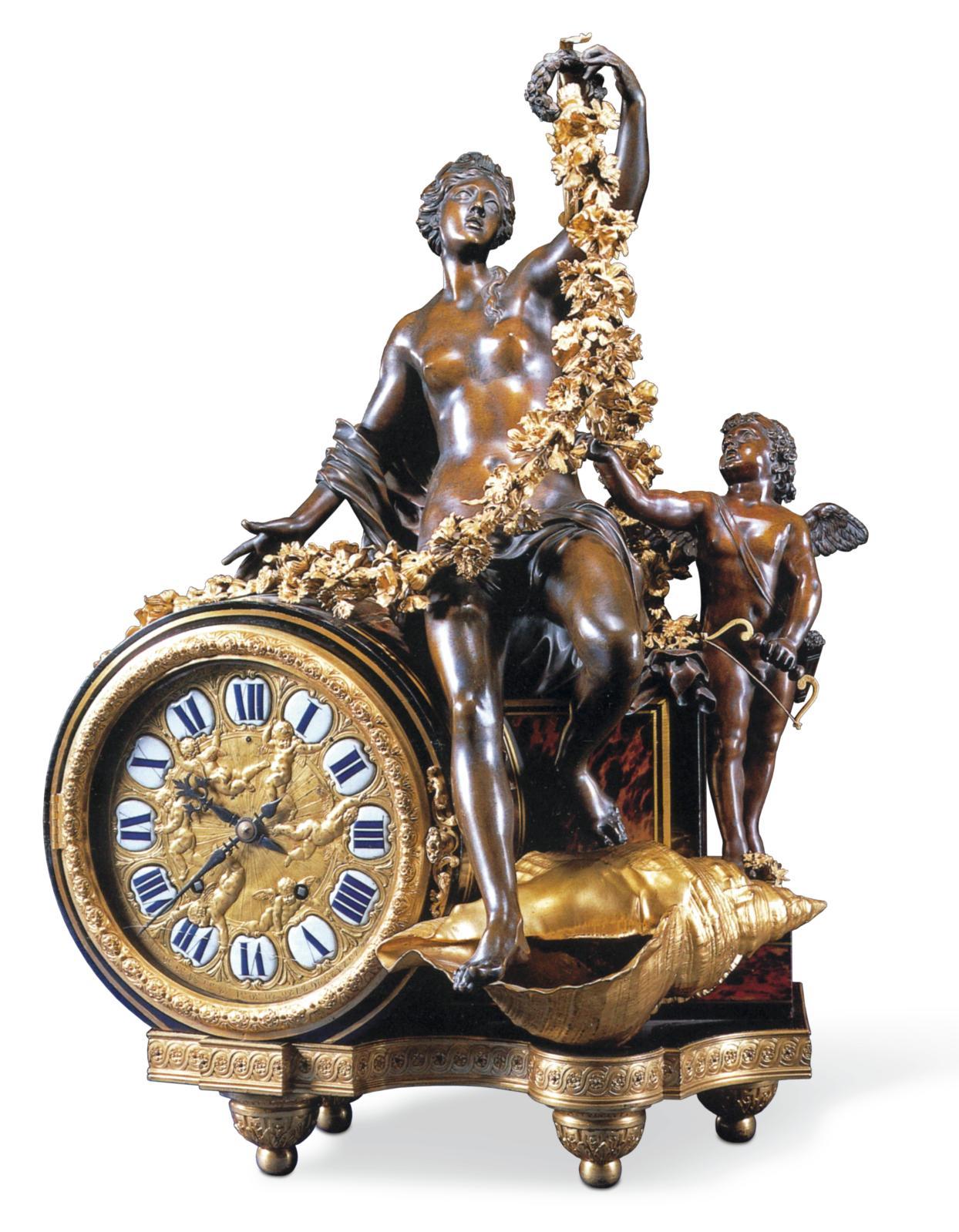 André Charles Boulle, Pendule à Vénus, vers 1715, mouvement de Jacques III Thuret à Paris, bronze doré et bronze à patine brune, 90 x 55 x 43 cm, coll