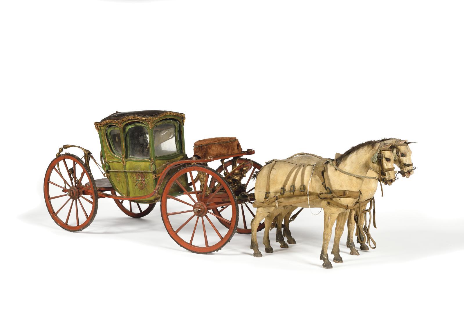 Premier tiers du XVIIIesiècle. Coupé, châssis en fer et bois peint, système de suspension par cordes à boyau relié au châssis par des col
