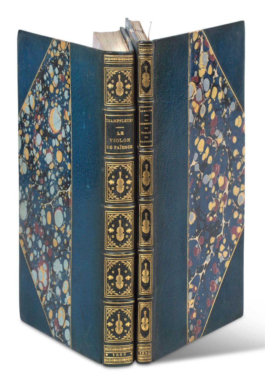 Champfleury, Le Violon de faïence, Paris, Conquet, 1885, in-8°, demi-maroquin bleu nuit à coins, dos à nerfs titré et orné de fers dorés a
