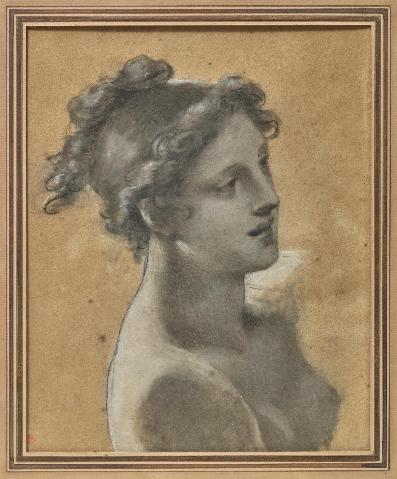 Pierre-Paul Prud'hon (1758-1823), Étude pour la jeune femme en avant de la barque du tableau «Le Rêve du bonheur», pierre noire, estompes