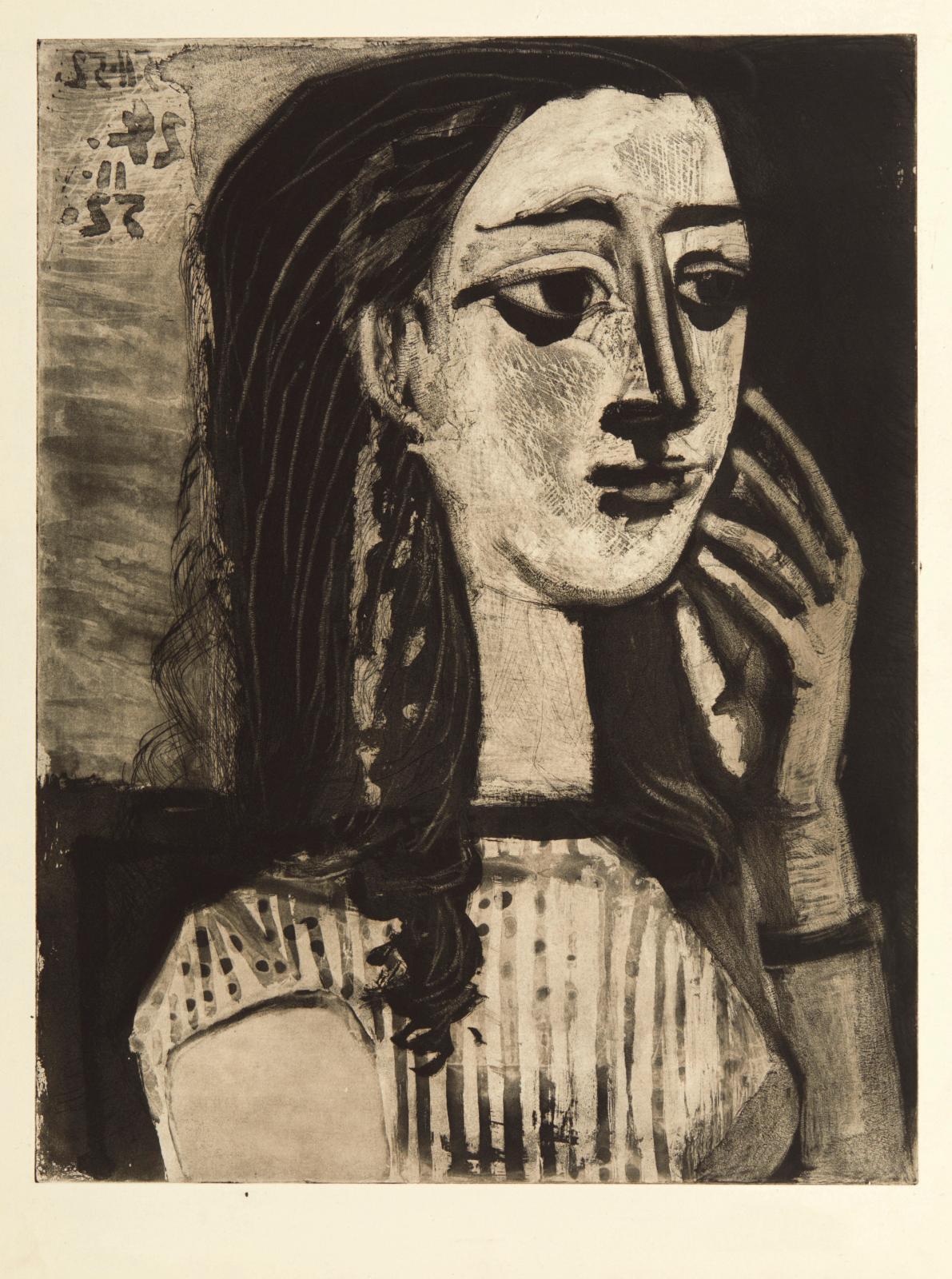 Pablo Picasso (1881-1973), Portrait de Françoise au corsage, 1952, aquatinte au sucre et grattoir, épreuve du 10e état sur 10, 76,5x57c
