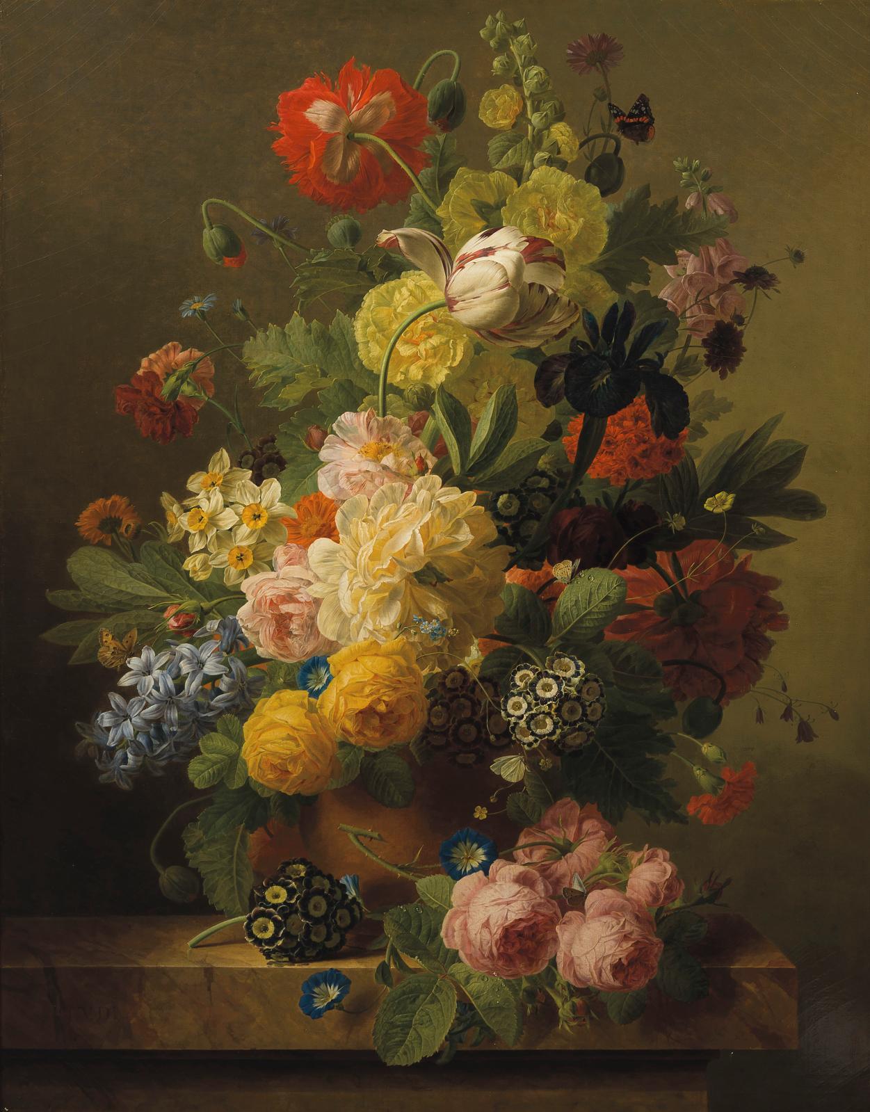 Jan Frans Van Dael (1764-1840), Bouquet de fleurs dans un pot en terre sur un entablement, huile sur toile, 93x75,5cm.Adjugé: 261580