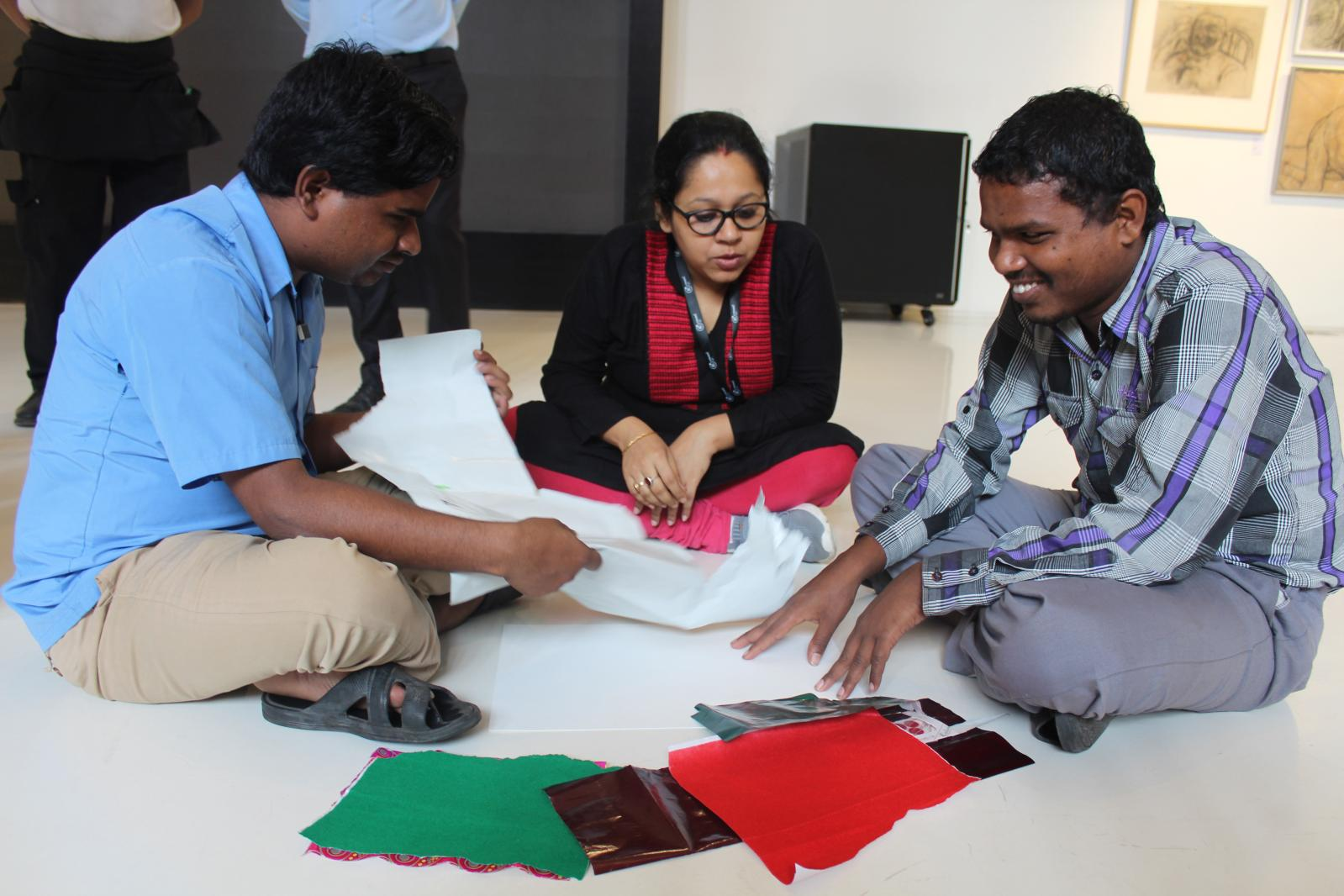 KCC DEAI -Accessibility - People who are differently-abled visually experiencing Tactile art.Courtesy of Kolkata Center for Creativity