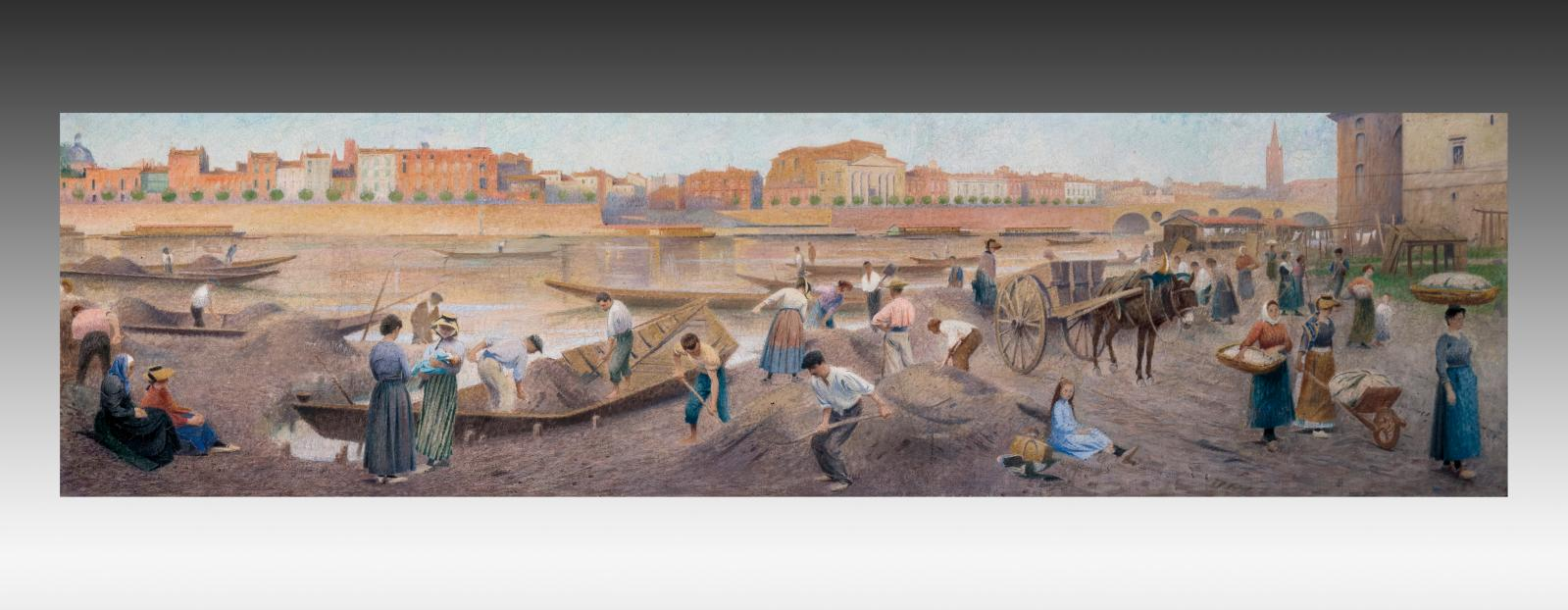 Henri Rachou (1856-1944), Les Quais de Toulouse, huile sur toile panoramique signée en bas à gauche et datée «1905», 46x170cm. Adjugé :