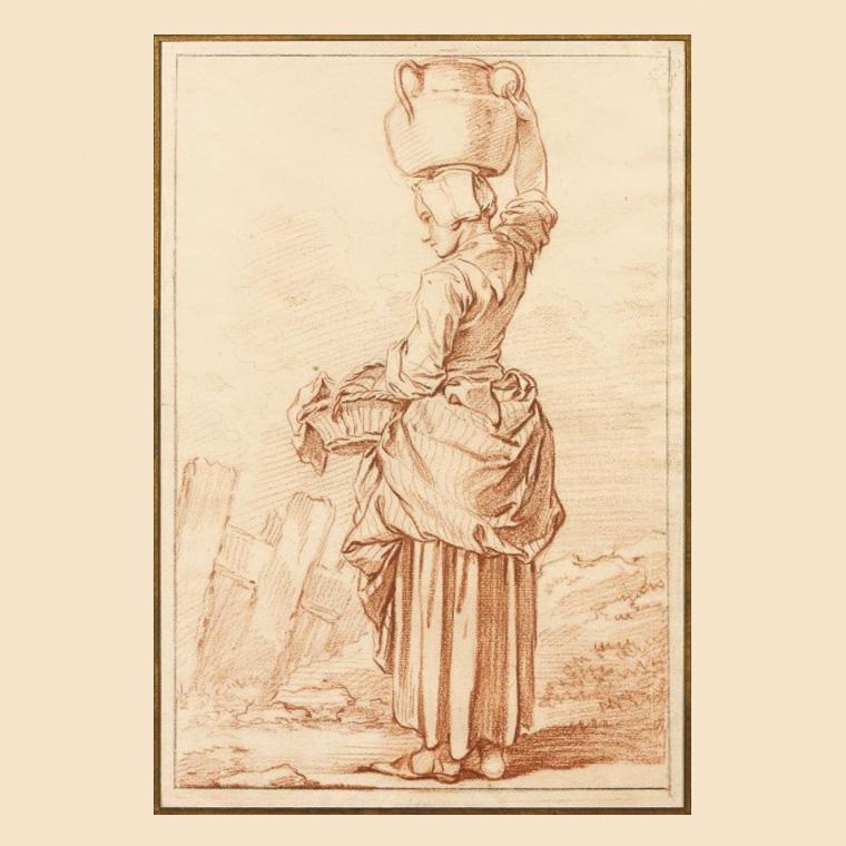 32237€ François Boucher(1703-1770), LaLaitière, sanguine, margée au crayon noir, 26,5x18cm, pour la publication d'une suite de douz