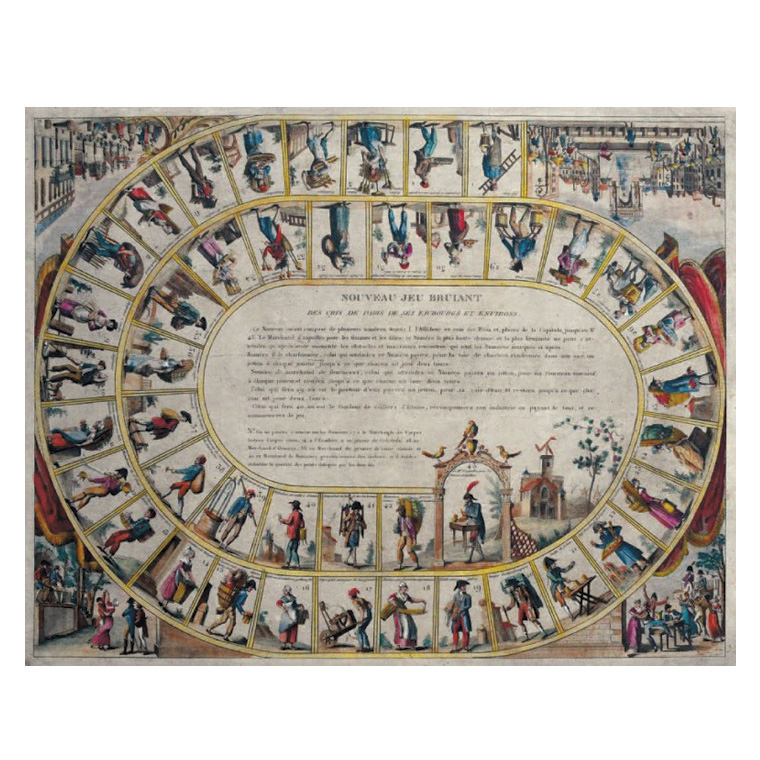 3050€ Nouveau jeu bruiant des cris de Paris, de ses faubourgs et environs, Paris, Basset, 1808, taille-douce aquarellée et doublée sur j