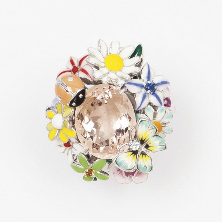 5376€ Victoire de Castellane(née en 1962) pour Dior, bague «Diorette», collection «Jardin de Milly-la-Forêt», or gris émaillé polychrom