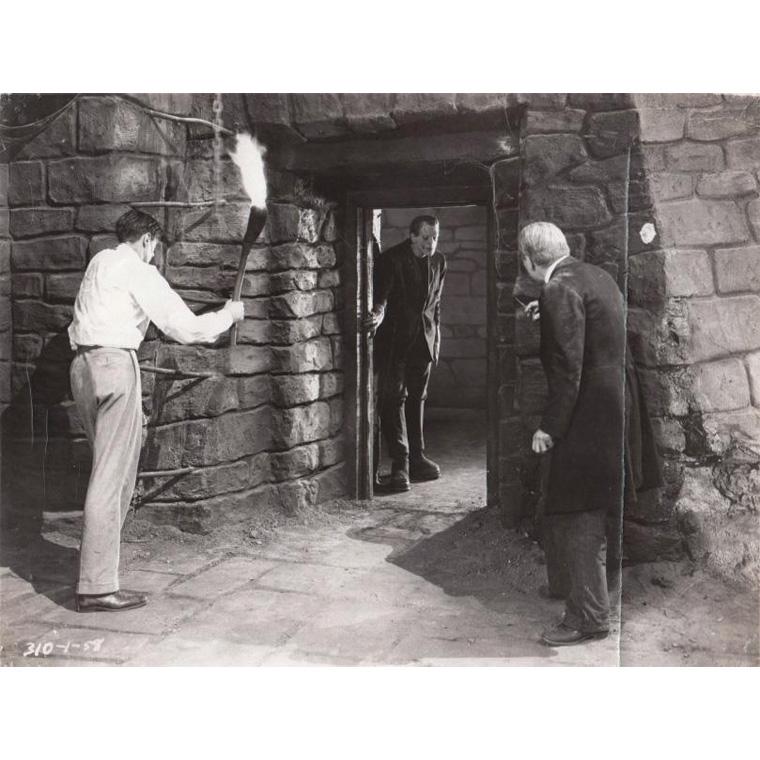 100€Frankenstein, Colin Clive, Boris Karloff et Edward VanSloane, film de James Whale, 1931, tirage argentique d'époque, tampons au dos,